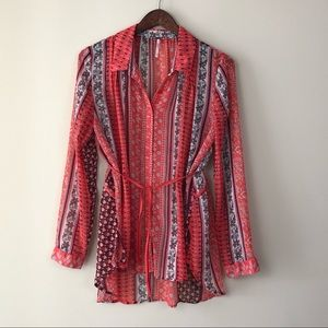 Free People Coral Long Sleeve Button Down Blouse